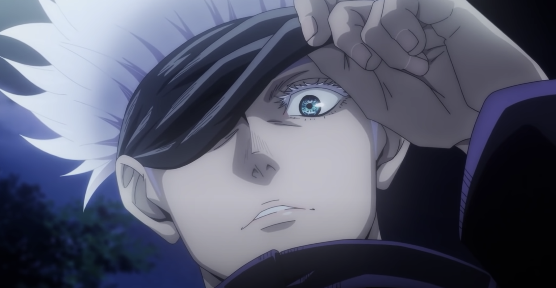 An anime character taking off a blindfold