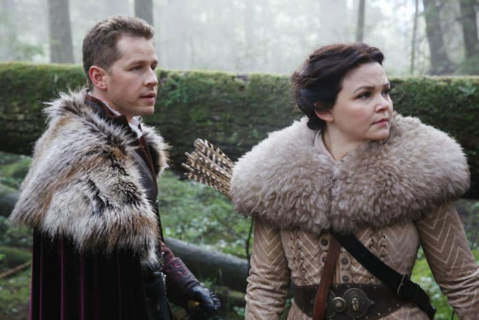 Prince Charming and Snow White wearing furs