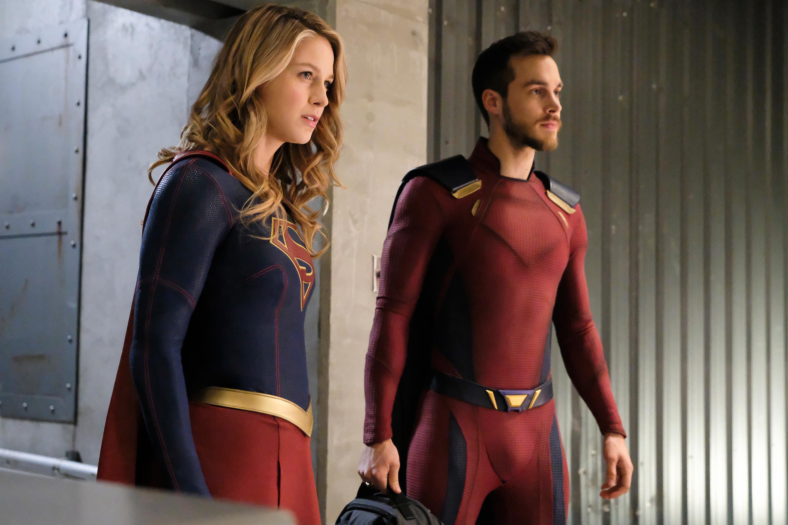 Kara and Mon-El in their supersuits