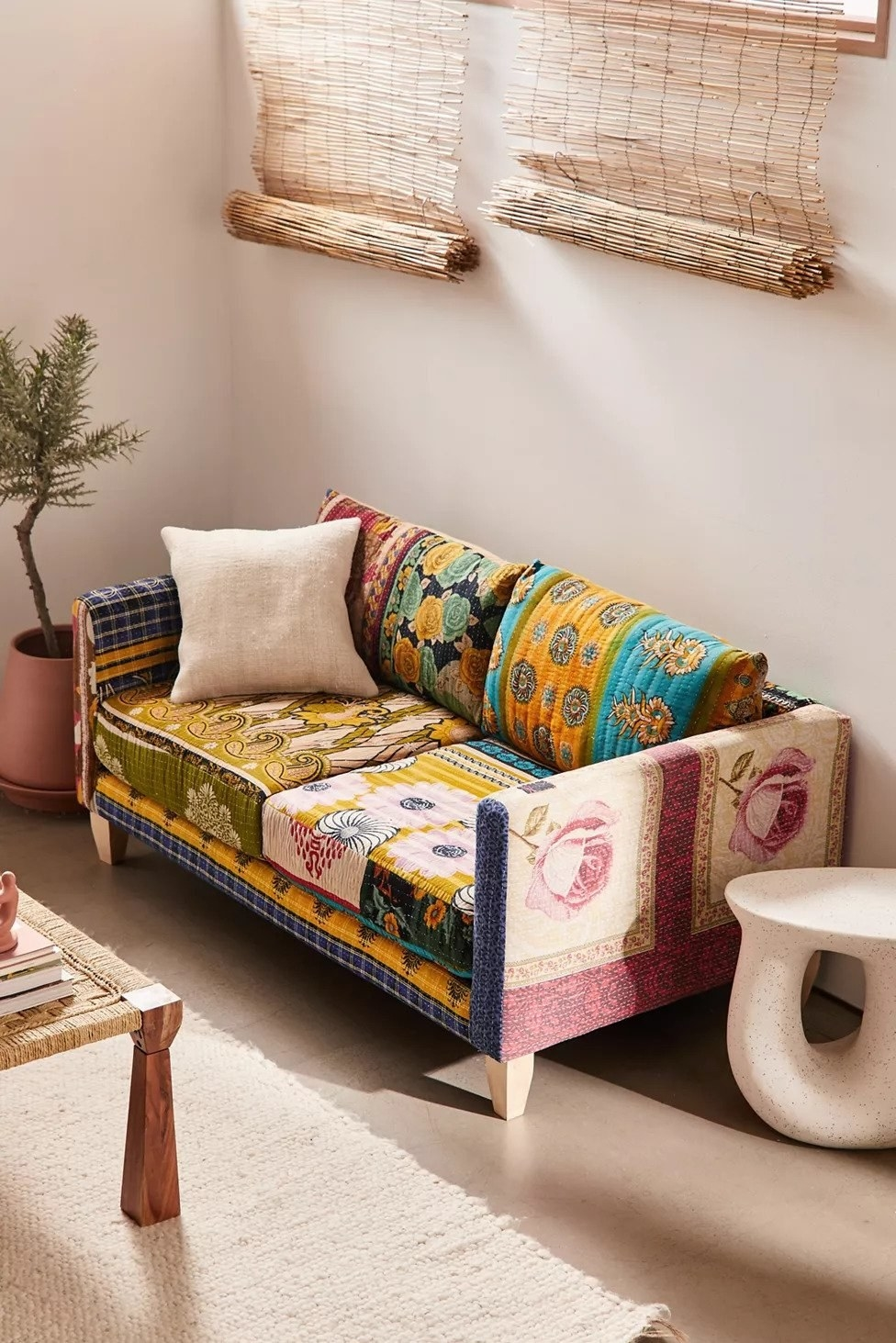 patchwork sofa with different patterns of fabric throughout
