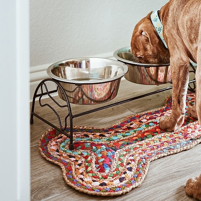 bone shaped woven mat made with several different colors of material