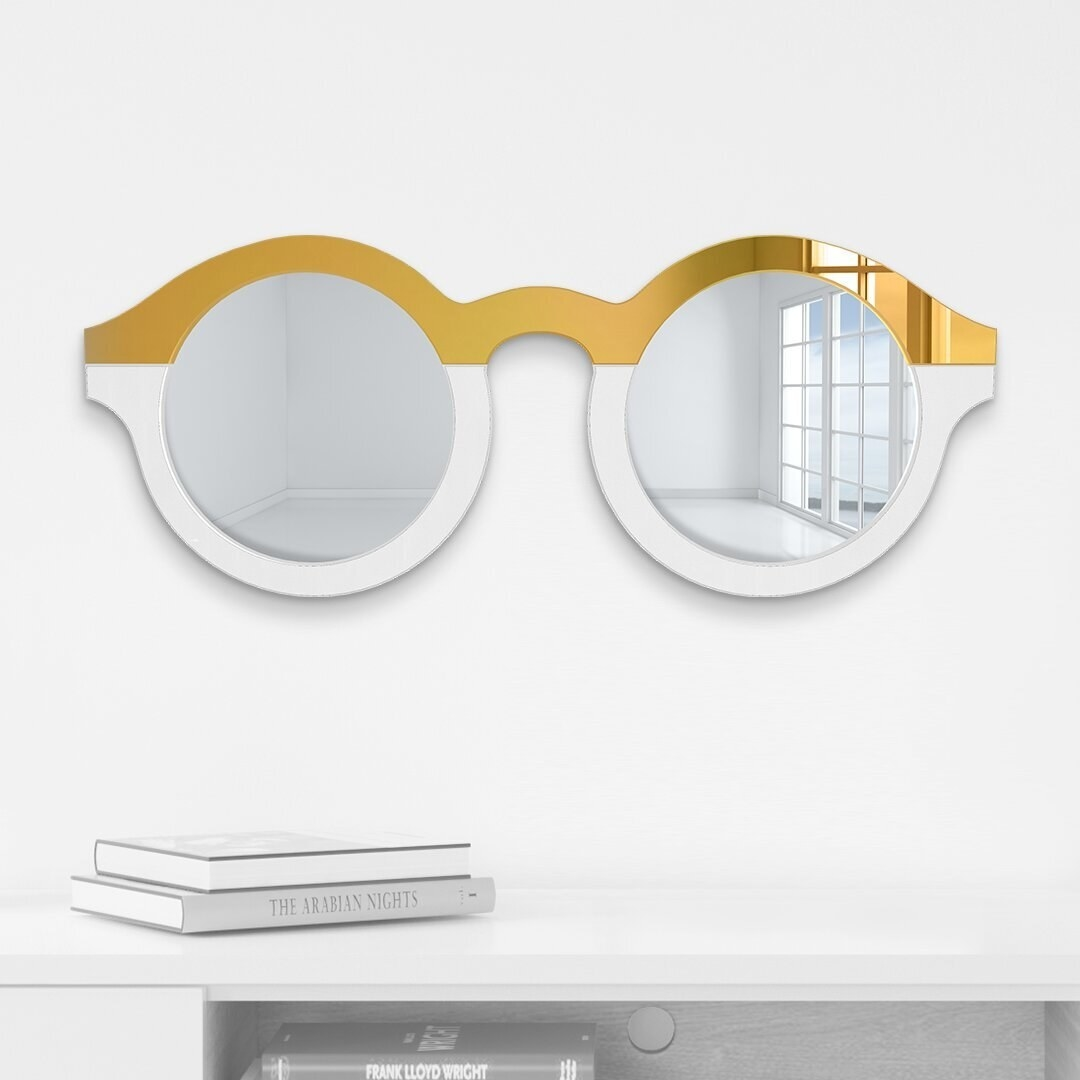 two mirrors connected to look like sunglasses