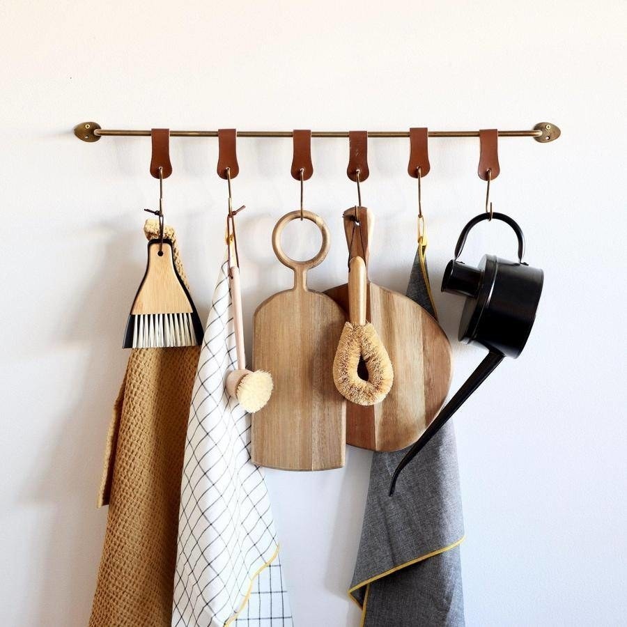 the rack with leather hooks in brown