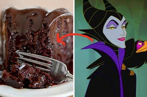 chocolate cake on the left and maleficent on the right