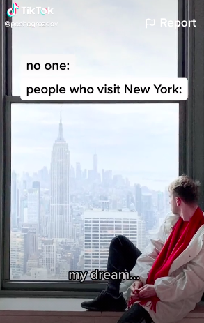 People who visit New York City: my dream... is caption over a picture of Pavel sitting on a window sill and looking out into the city wistfully