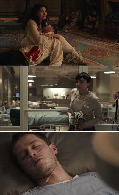 Prince Charming dying in Snow White arm and then later in modern day, he is just lying on a hospital bed