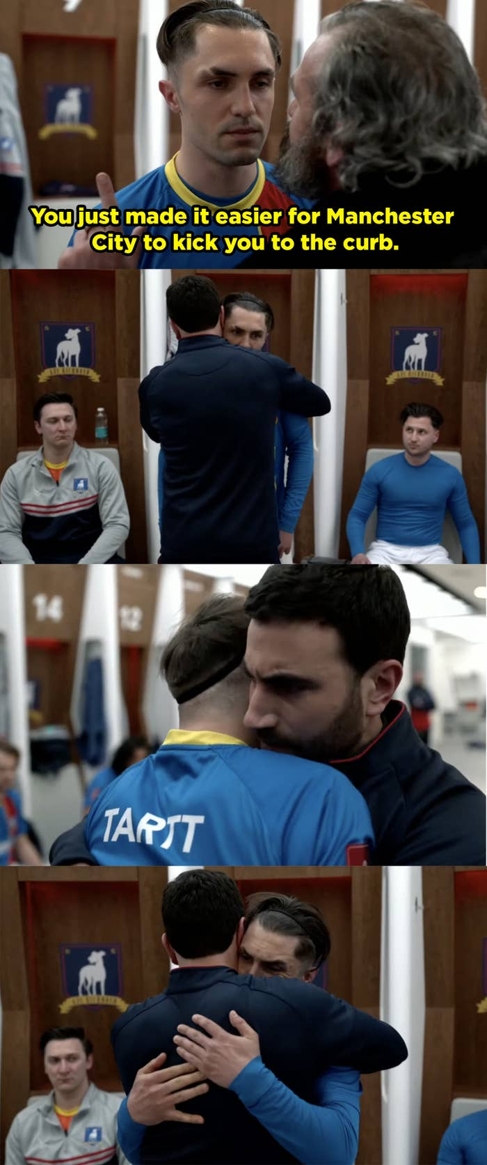 Jamie's dad berates him in front of the entire team and then Roy walks over to hug him and Jamie breaks down crying.