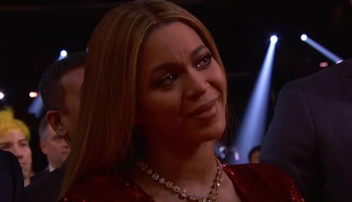 Beyoncé with tears in her eyes