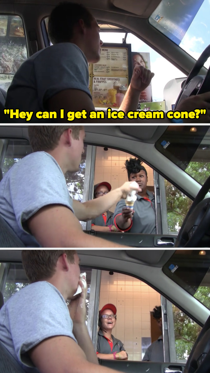 Person grabbing an ice cream cone by the ice cream rather than the cone