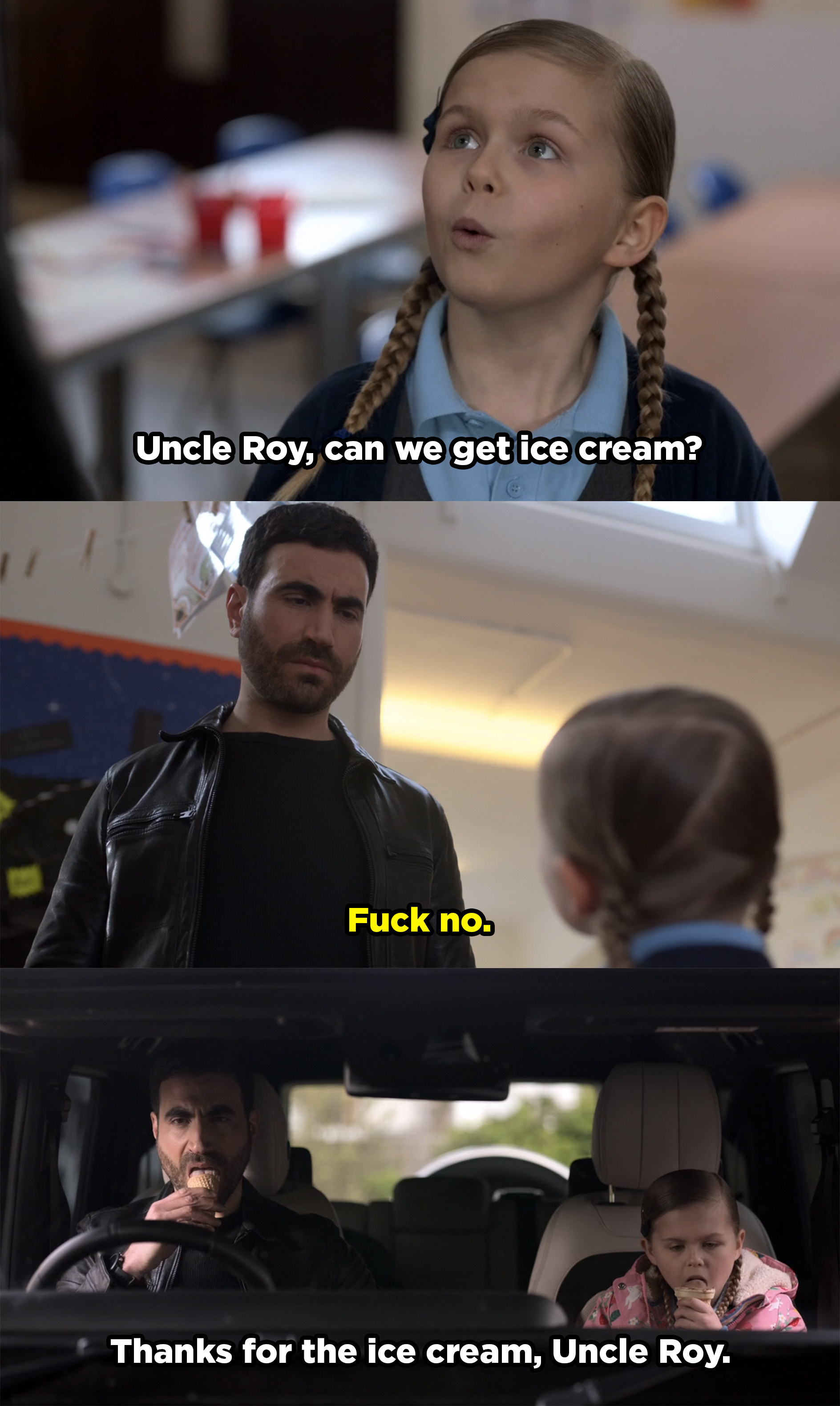 """Phoebe asks Roy if they can get ice cream on the way home from school and he says, """"fuck no."""" But in the next scene they're shown licking ice cream cones in his car."""