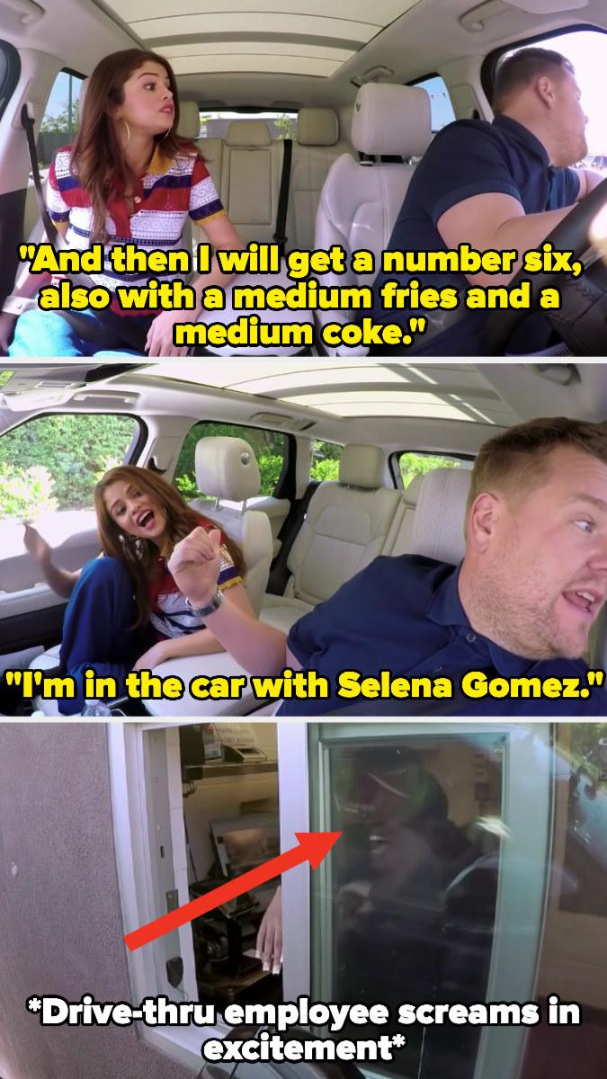 James Corden and Selena Gomez going through a drive-thru
