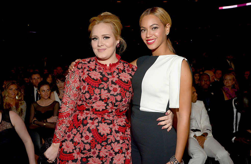 Beyoncé and Adele posing for a photograph together