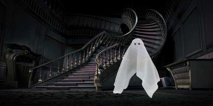 A ghost floating in a spooky house