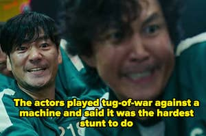 """Gi-hun and Sang-woo look pained; the caption says """"The actors played tug-of-war against a machine and said it was the hardest stunt to do"""""""