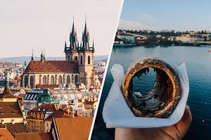 Left: Prague skyline with famous church. Right: Czech pastry with Vltava river in the background.