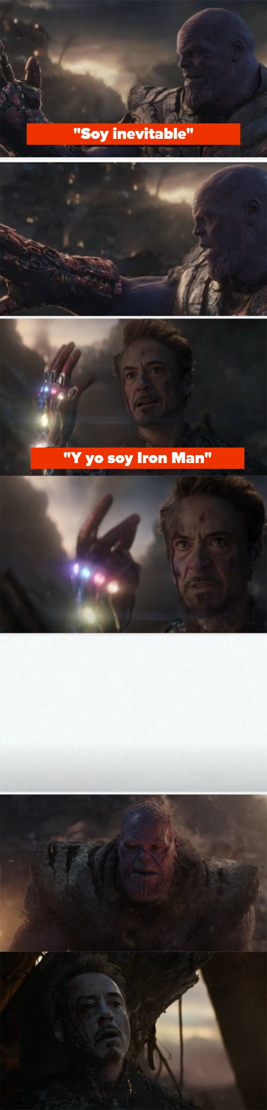 """Thanos failing to snap and Iron Man snapping before he dies on """"Avengers: Endgame"""""""