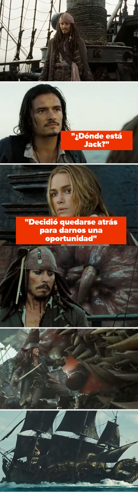 """Jack being left behind on the ship and a monster taking him down on """"Pirates of the Caribbean: Dead Man's Chest"""""""