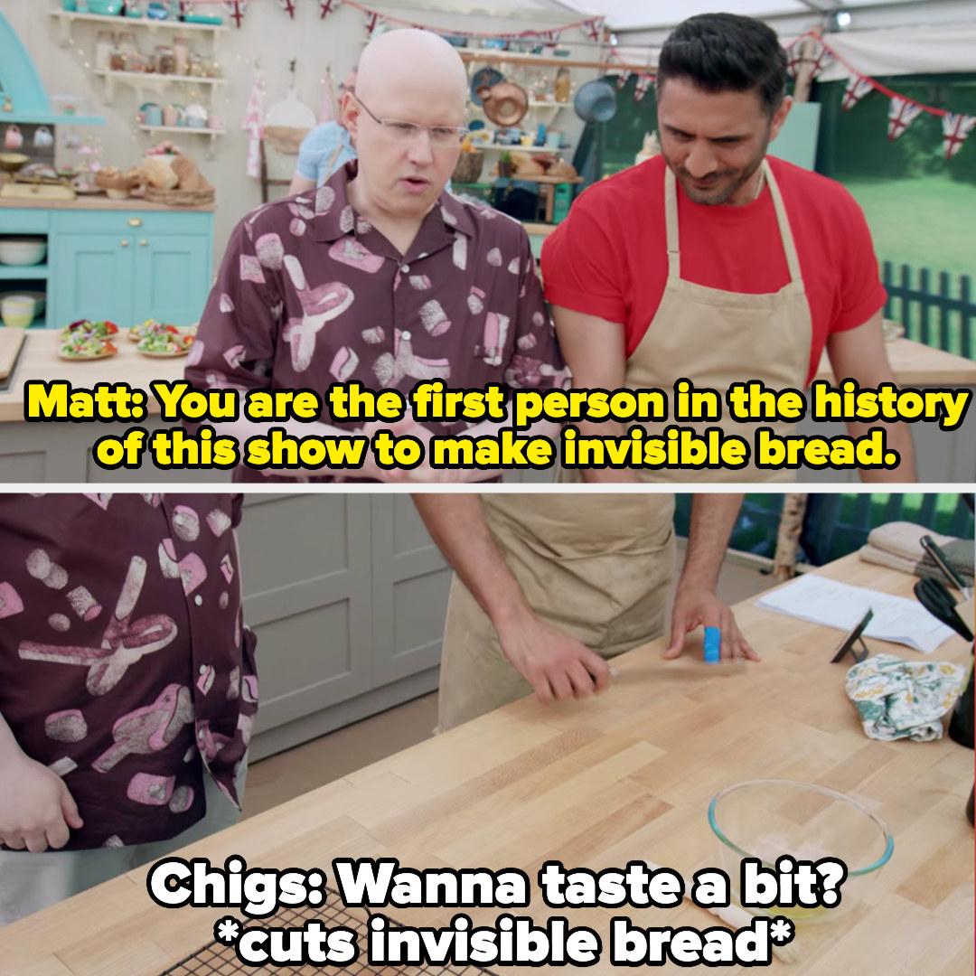 Chigs cuts his invisible bread after matt congratulates him on it