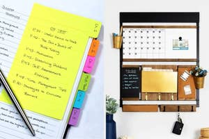 sticky note dividers on the left and a command center on the right