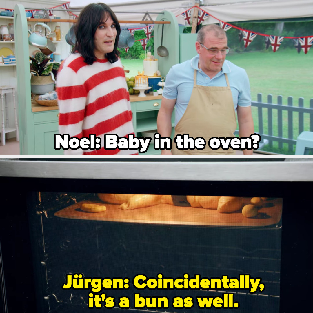"""Noel says """"baby in the oven?"""" and jurgen responds, coincidentally, it's a bun as well"""