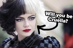 A close up of Cruella from her self-titled movie