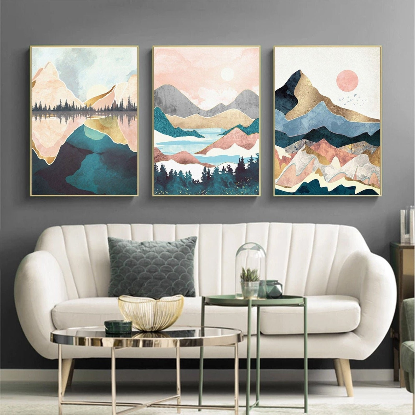 The prints hanging over someones sofa
