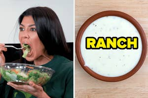 On the left, Kourtney Kardashian shoveling a salad into her mouth, and on the right, a container of ranch dressing