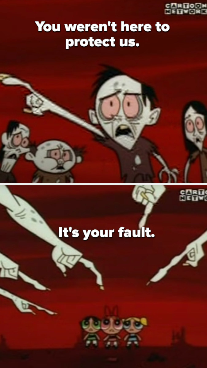 A bunch of zombie-esque citizens point fingers of blame at the Powerpuff Girls