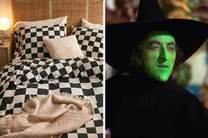 On the left, a bed covered in throw pillows, and on the right, the Wicked Witch of the West from The Wizard of Oz