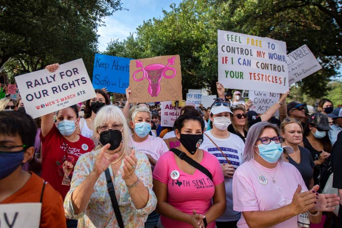 """Protesters, most wearing masks and some holding up signs, including """"Feel free to control my womb if I can control your testicles!"""""""