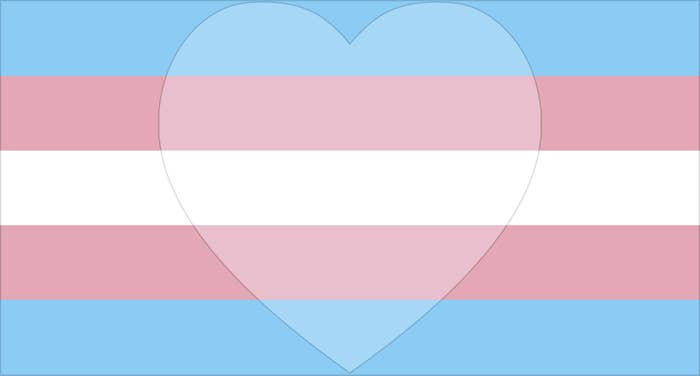 Trans flag with a with a heart