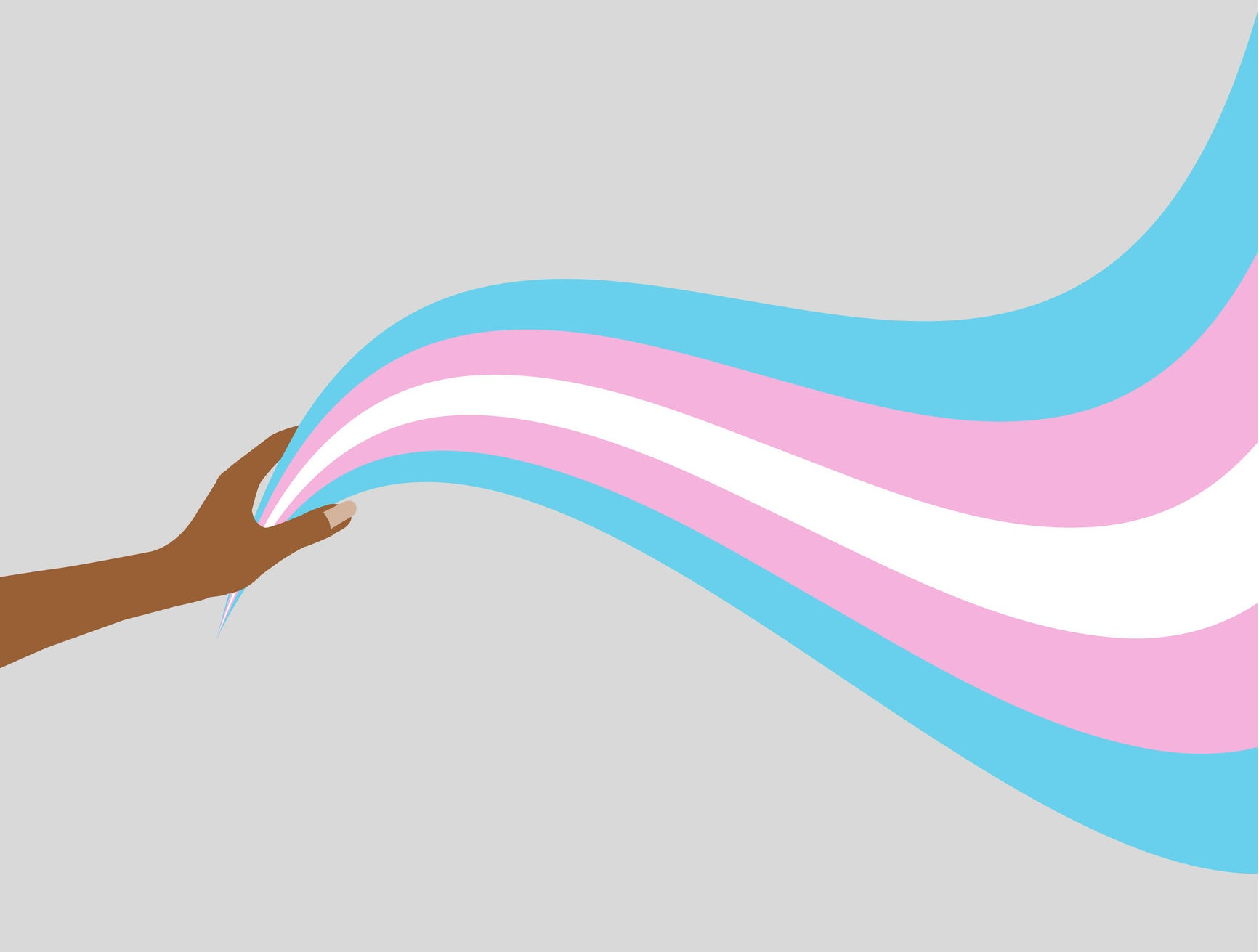 Drawing of a hand holding a long swooshing trans flag ribbon