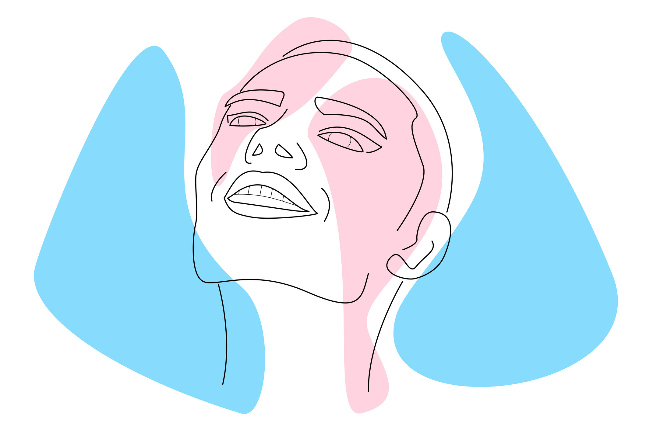 Hand drawn face on abstract trans flag