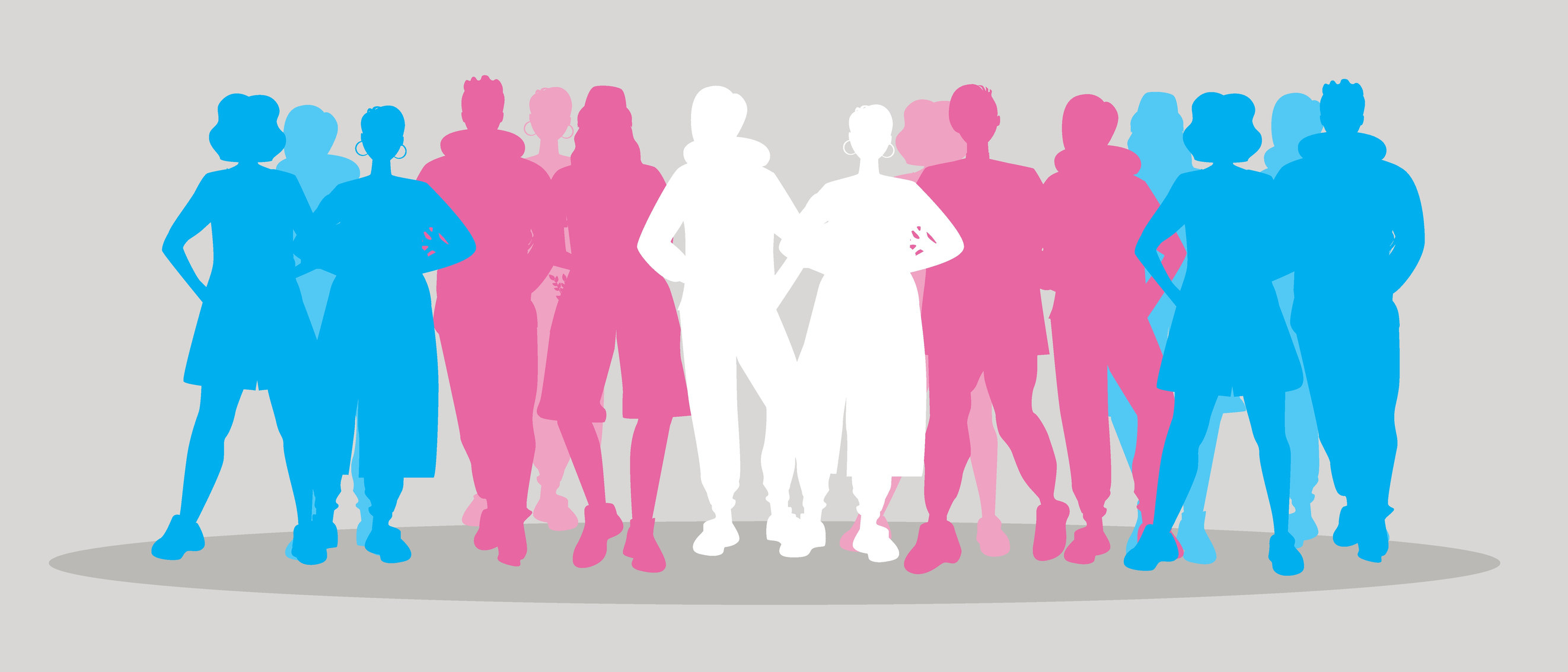 Transgender people, isolated silhouettes