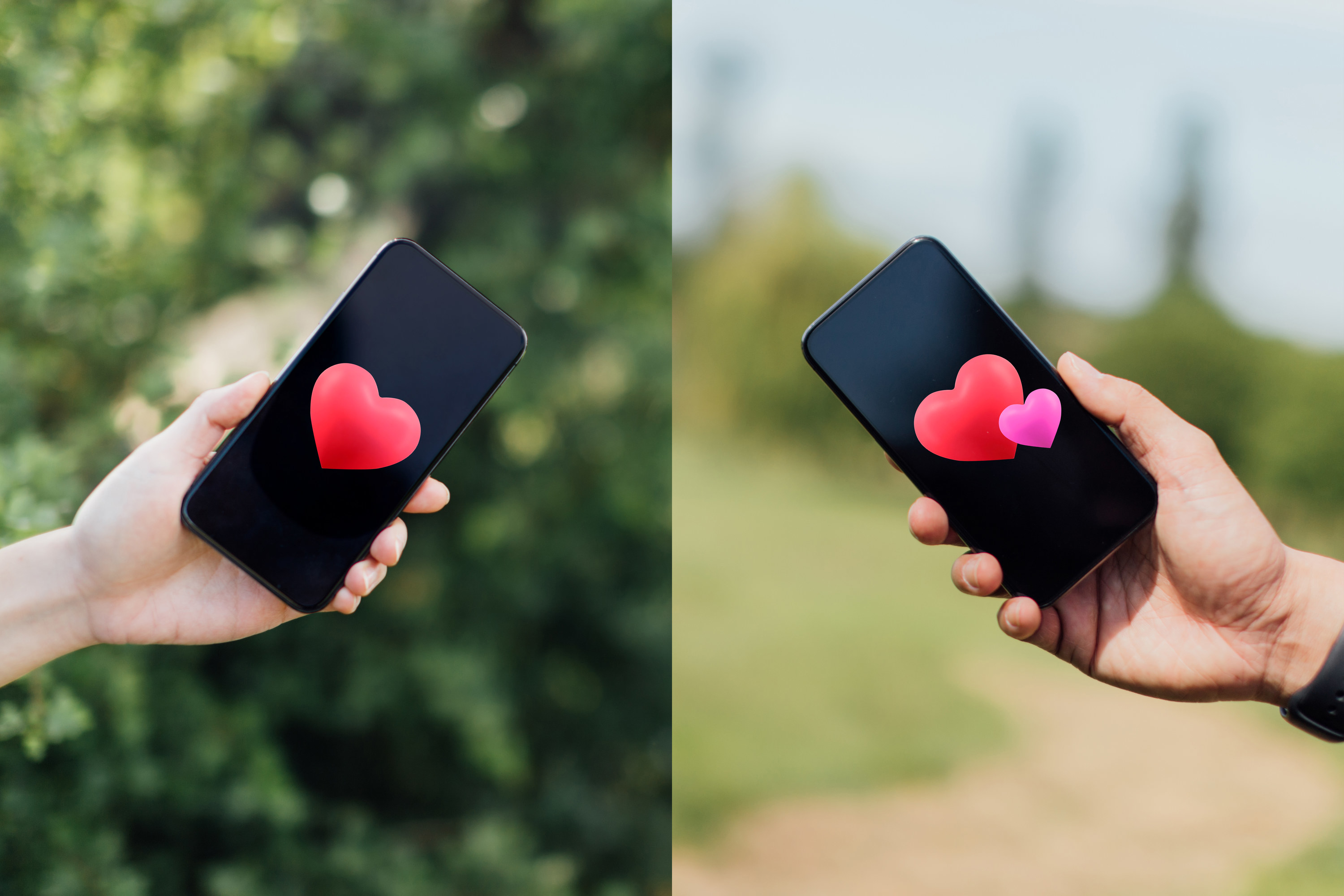 Couple holding their phones with hearts on the screens