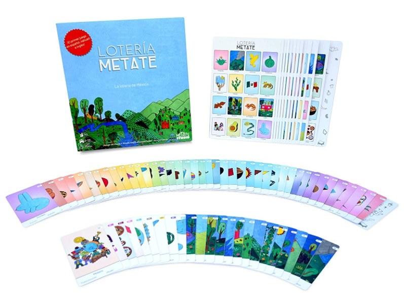 Foto de cartas del juego de lotería Metate.