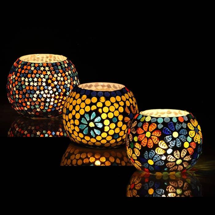 Three Moroccan candleholders