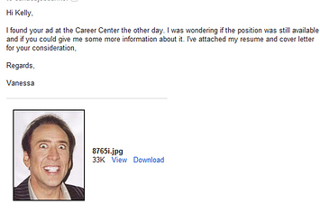 girl sends nic cage headshot instead of resume