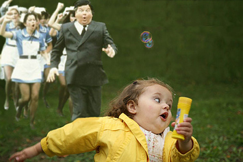 girl being chased by people