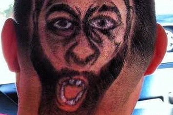 This guy got a picture of james harden cut into his hair for James harden tattoo