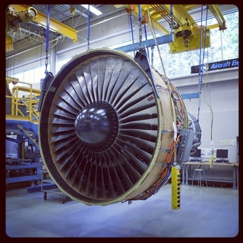 A CF6-80C2 engine at the Aviation plant in Cincinnati, OH