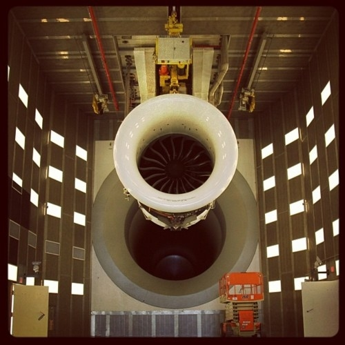 A GEnx engine at the Aviation testing facility in Peebles, OH