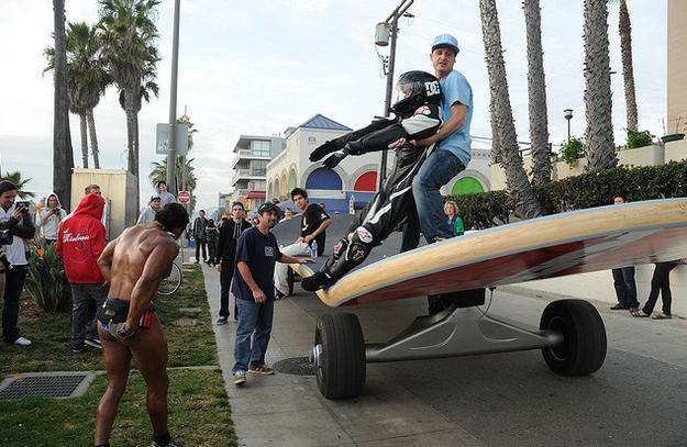 Rob Dyrdek Riding A Giant Skateboard