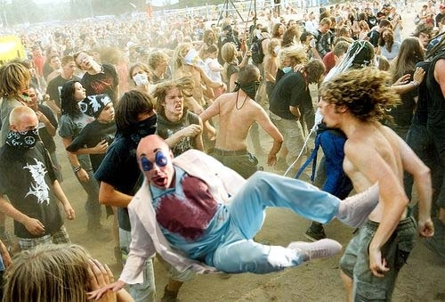 Showing off his moves at the Hatebreed show