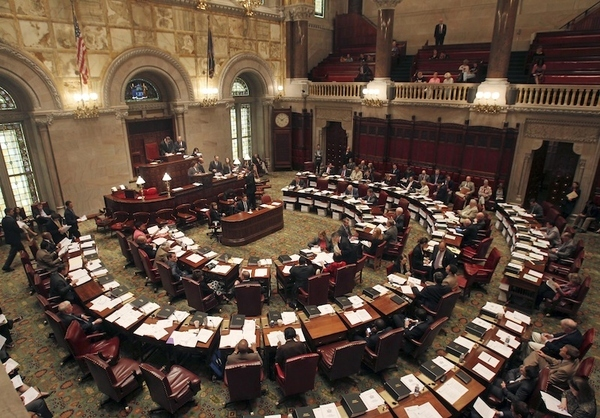Members of the New York State Senate meet in session in the Senate Chamber at the Capitol in Alba...
