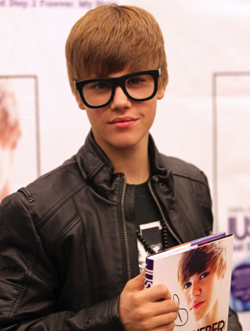 At a book signing for Justin Bieber