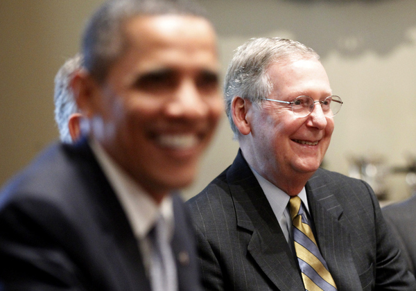 Senate Minority Leader Mitch McConnell of Ky., right, and other Congressional leaders meet with P...