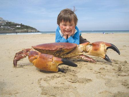 Bonus: Awww - He's looking at a giant crab