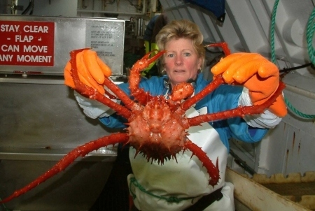 She's holding a giant crab
