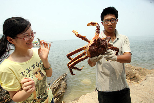 He's holding a giant crab and she's laughing at him holding a giant crab